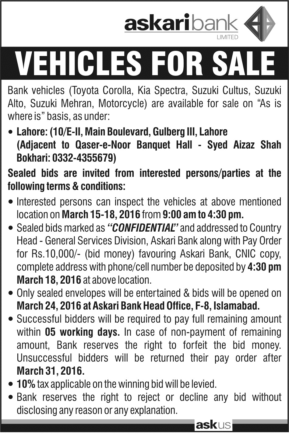 The Official Website Of Askari Bank Limited Pakistan Vehicle Auction At Central Region